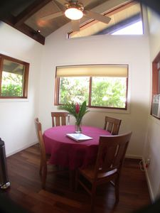 Sunset Beach house rental - Dining Area..... Bottom up - Top down shades Skylight