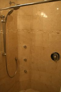 Master bath with Body sprays