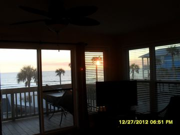 View from living area at sunset.
