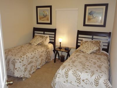 Trafalgar Village townhome rental - Bedroom 3 - 2 twin beds with 24in DVD television and Wii game console