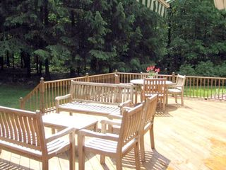 The back deck with access from sliding doors off the living room/kitchen