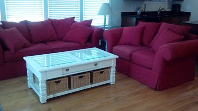Carolina Beach condo rental - Living Room w/ Queen Sleeper Sofa