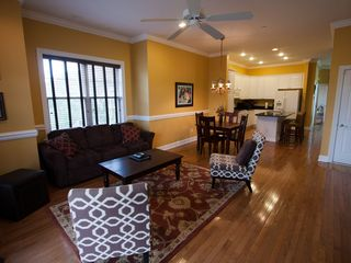 Folly Beach townhome photo - Living area, dining and kitchen areas