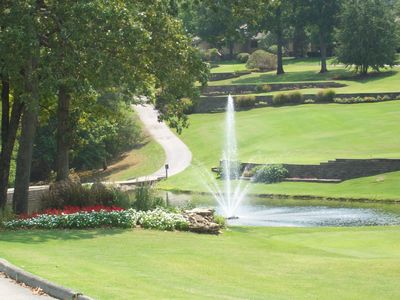 Pond and Fountain beautifully manicured along the golf course