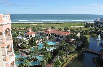 View of pool complex & Ocean Course #18 from our balcony.  NOT a stock photo!