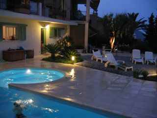 Menton villa photo - Pool and Jacuzzi at night
