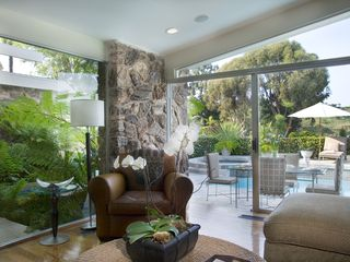 Hollywood estate photo - Den/Media room overlooking pool, spa & views