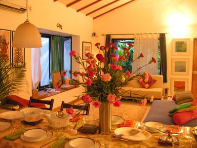 North Goa cottage rental - A dinner setting during the monsoons