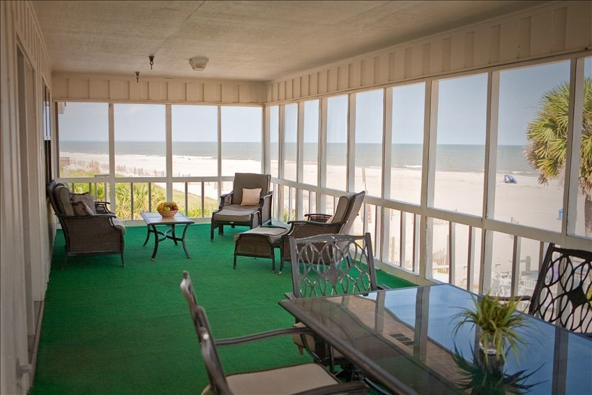 panoramic ocean view from huge private screened porch dining