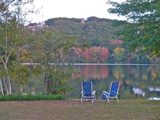 Dennis Village house photo - Enjoy fall foliage from property lakefront.