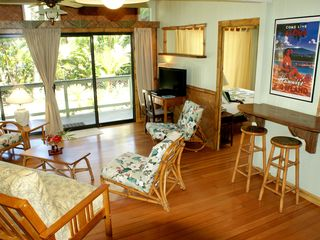 Pahoa cottage photo - Livingroom looking towards flat screen TV with Netflix