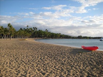 Anaho'omalu Bay is just a short walk from your door.