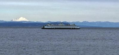 Enjoy panoramic views of Mt. Baker and Puget Sound ferry.