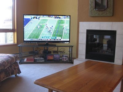 "Family Room with 60"" Sharp Aquos 1080p TV and Gas Fireplace"