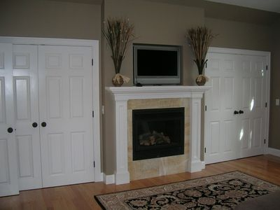 Master bedroom opposite view with gas fireplace