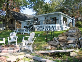 Lake Ariel cottage photo - Summer-firepit and cottage from water's edge