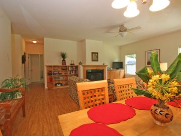 Volcano house rental - Great room with dining area and living room