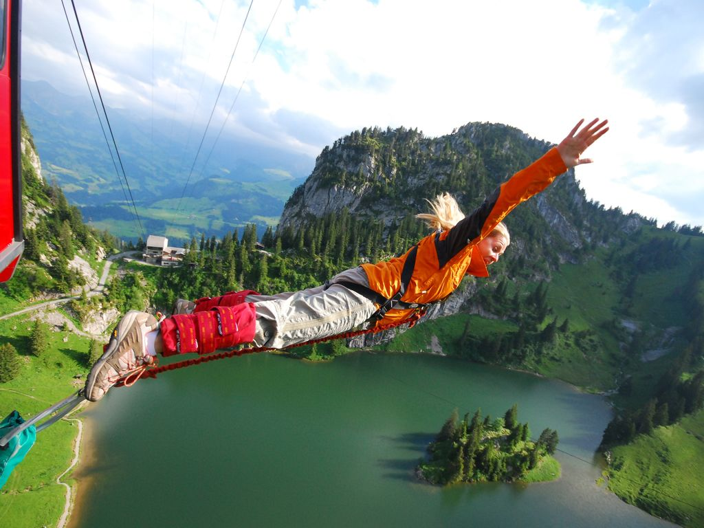 A bungee jump in The Alps