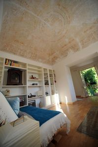 Third bedroom/study with domed-stenciled ceiling