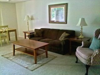 Traverse City house photo - Walkout basement family room, tv, dvd, stereo and queen sleeper sofa