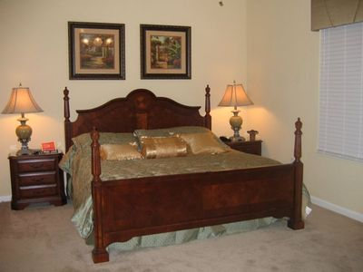 "Gorgeous master bedroom with king size bed and 42"" plasma TV"