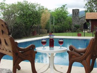 Tepoztlan estate photo - Relax by the swimming pool, view toward Chapel