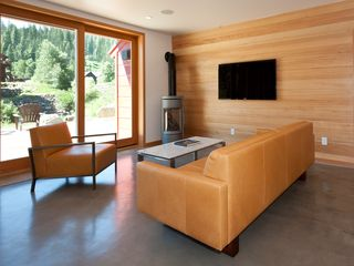 Truckee house photo - Modern, Light and Bright. Corner Fireplace keeps things cozy in the living room