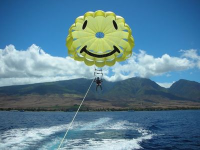 Guest from Sparks, Nevada parasailing out of Lahaina Harbor