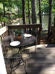 Have a lovely late breakfast or afternoon tea on your private deck by the lake.