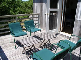 Chilmark house photo - the high-railed deck, a lovely serene spot for visiting or to drop out!