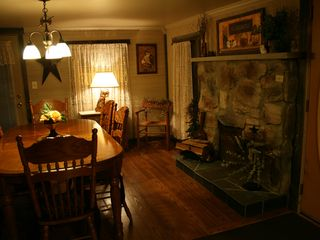 Clearfield cabin photo - Dining area in Great room with fireplace