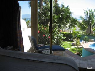La Cruz de Huanacaxtle house photo - View from Master Suite of Patio, Pool and Lounging Area