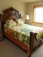 Bandon house photo - Second bedroom with queen bed - view of the Bandon Beach Riding Stables & meadow