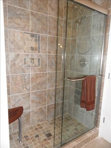 Newly tiled shower in master bath