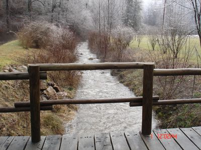 Brevard cottage rental - Bridge over creek in front of property