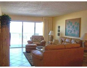 Redington Shores condo photo - Oceanfront Living Room with Leather Sofa