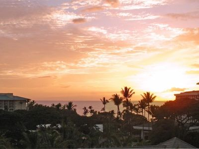 Enjoy a beautiful ocean sunset from the lanai - Actual View from our lanai
