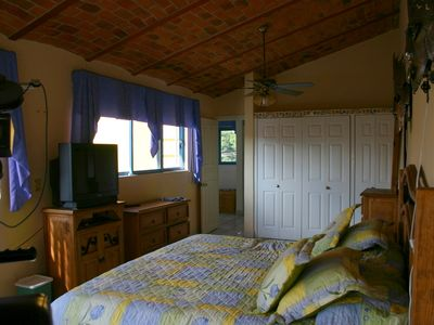Master Bedroom has King bed, lots of storage, its own private bathroom & balcony