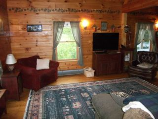 Trenton cabin photo - Great room with new flatscreen TV and DVD player.