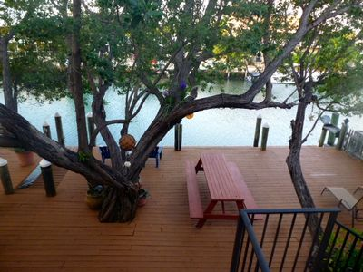Great view of the back deck and of the two shady Mahogany Trees.
