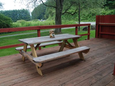 Wrap around deck with café table, picnic table and gas grill.