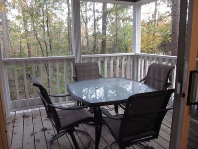 Grab your coffee or a favorite book & enjoy the beauty of nature from the deck