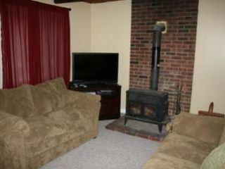 Bushkill house photo - Living Room w/ Flat Screen TV & Wood Burning Stove