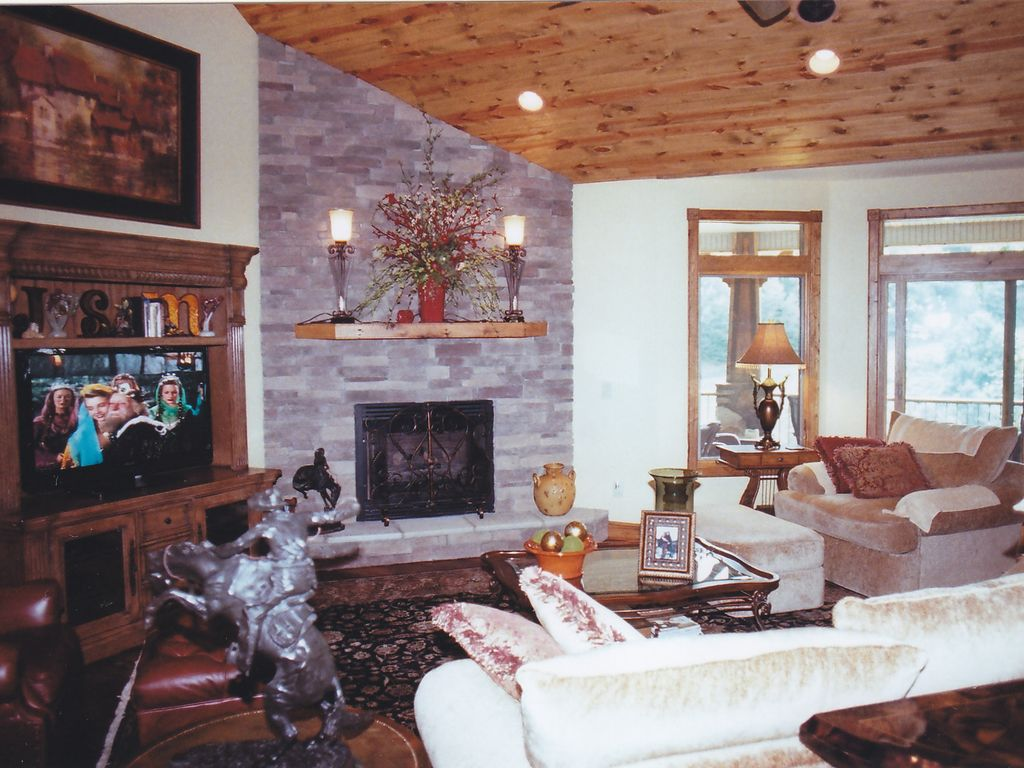 Great Room Stone Fireplace TV