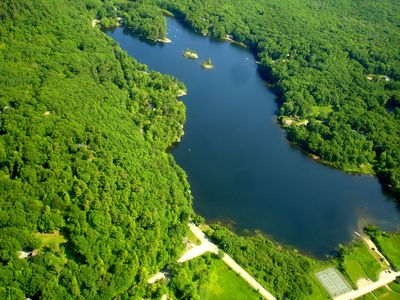 Hosmer Pond. Lower right corner tennis courts and boat launch area.