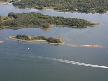Narragansett estate rental - Looking East- Ram Island is behind Jonathan Island and is half in conservancy. h
