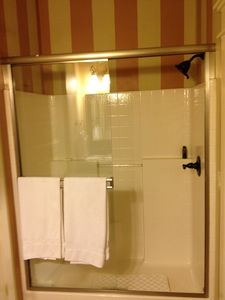 Shower in Guest Bathroom with Designer Colors. Wheelchair accessible- Main Floor