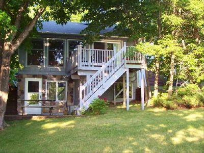 Outside view of cabin lakeside