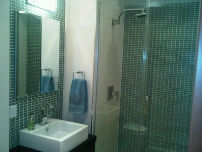 Second bathroom- hotel luxury style with rainfall shower