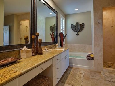 Luxurious Master Bathroom with Double Vanities , Glass Shower and Soaking Bath